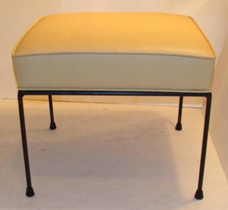 Mid-Century Modern Pair of Paul McCobb Leather Stools For Sale
