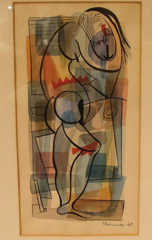 Amazing 1945 watercolor and ink on board. Abstract standing female by California artist Leslie Sherman. Signed and dated L/R. Original framing. Frame measures 20.5