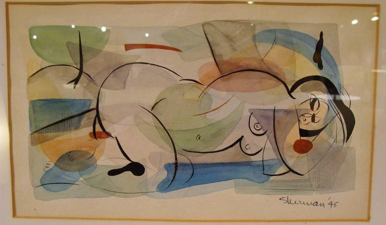 20th Century Superb Mid-Century Watercolor 1 of 2 For Sale