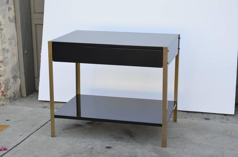 Pair of 'Laque' Black Lacquer and Brass Nightstands by Design Frères 3
