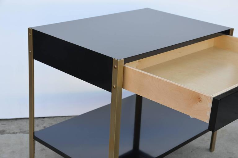 Pair of 'Laque' Black Lacquer and Brass Nightstands by Design Frères 4