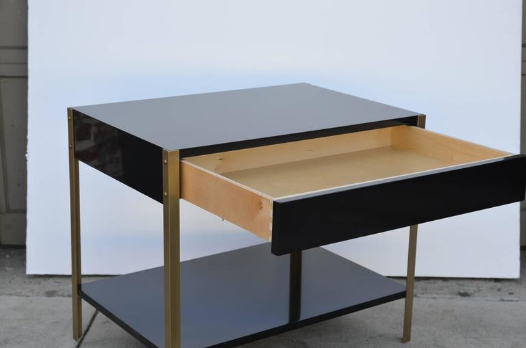 Pair of 'Laque' Black Lacquer and Brass Nightstands by Design Frères 5