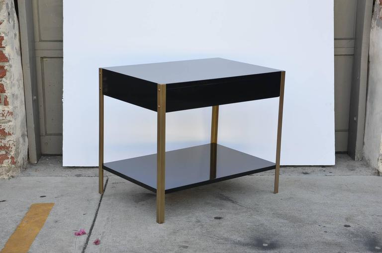 Pair of 'Laque' Black Lacquer and Brass Nightstands by Design Frères 6