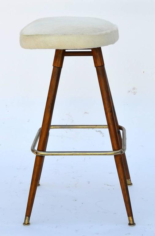 Set Of Three Swiveling White Hide Bar Stools At 1stdibs