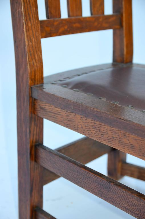 Bronze Original Mission Style Arts & Crafts Oak Chair by Stickley Brothers For Sale