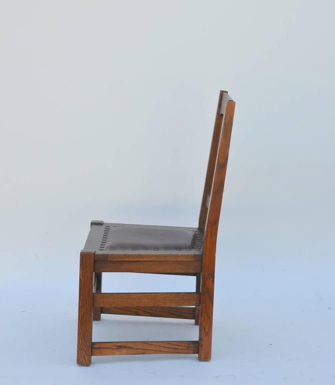 Arts and Crafts Original Mission Style Arts & Crafts Oak Chair by Stickley Brothers For Sale