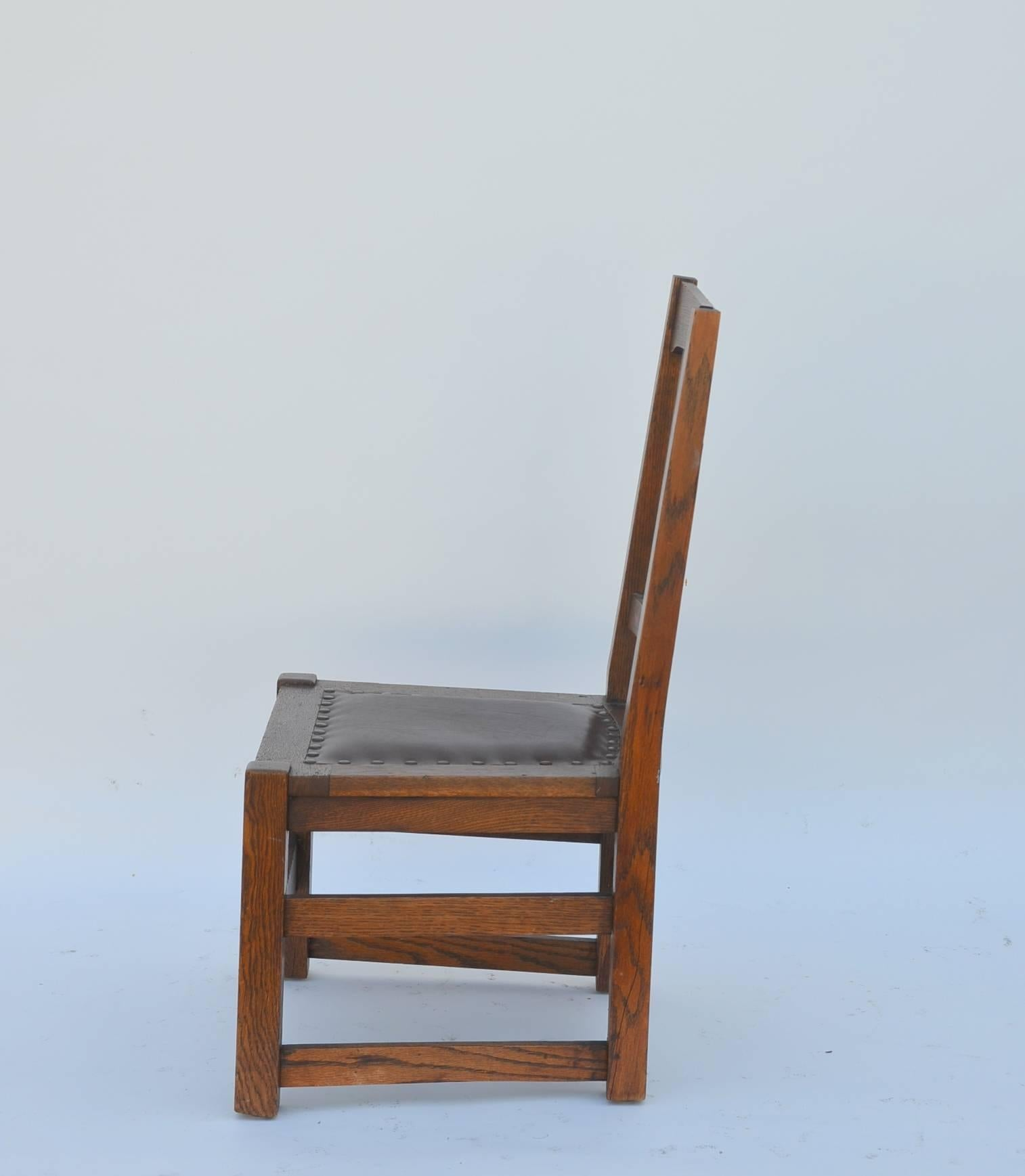 Original Mission Style Arts and Crafts Oak Chair by Stickley ...