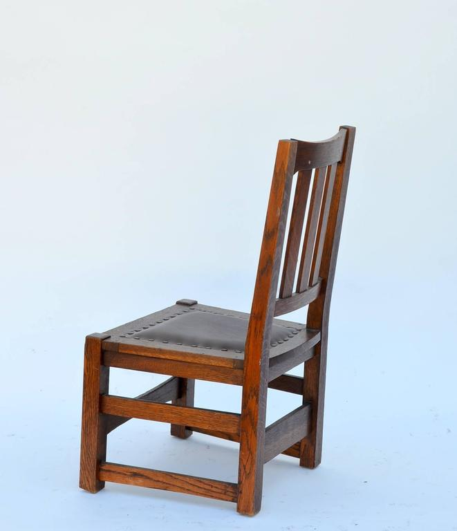 Early 20th Century Original Mission Style Arts & Crafts Oak Chair by Stickley Brothers For Sale