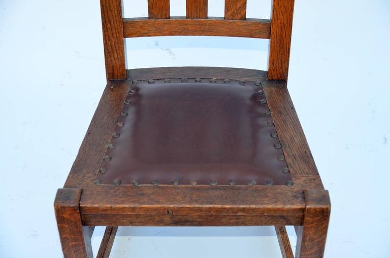 Original Mission Style Arts & Crafts Oak Chair by Stickley Brothers For Sale 1