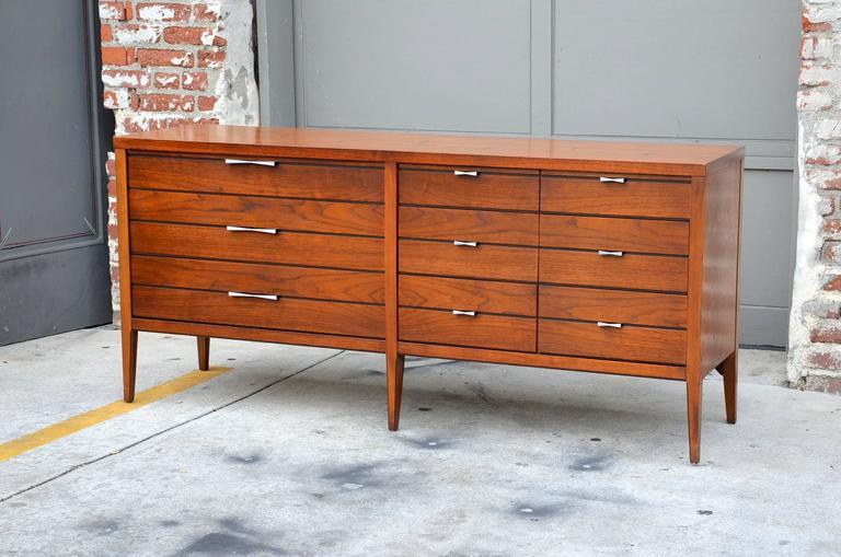 Pristine polished walnut dresser by Lane.