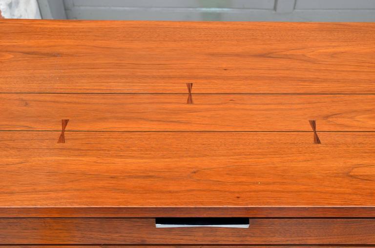 Painted Pristine Polished Walnut Dresser by Lane For Sale