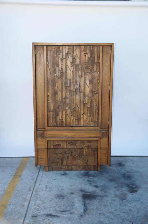 Carved Brutalist cabinet by Lane. Stamped inside the top drawer.