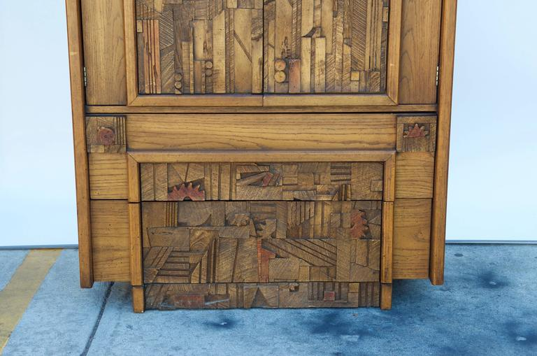 Carved Brutalist Armoire by Lane In Good Condition For Sale In Los Angeles, CA