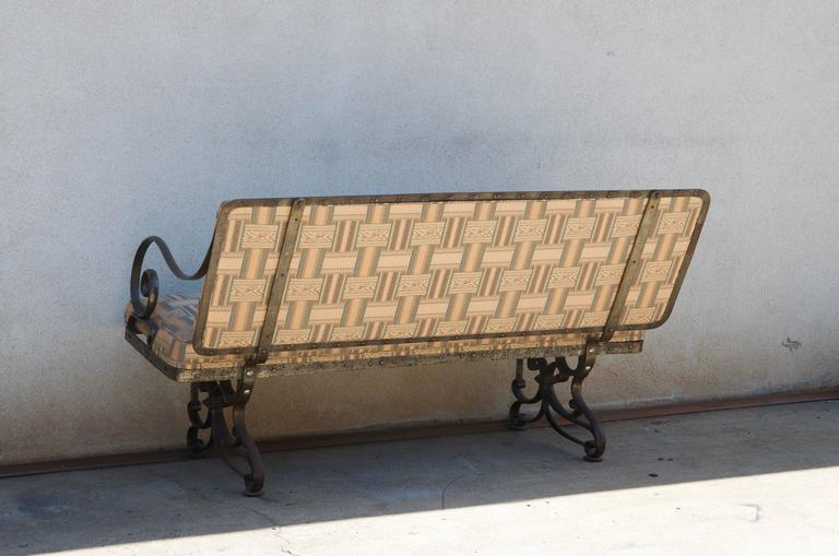 Upholstery Pair of Comfortable French Art Nouveau Industrial Wrought Iron Benches For Sale