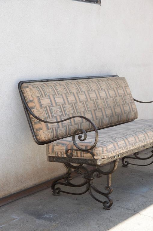 20th Century Pair of Comfortable French Art Nouveau Industrial Wrought Iron Benches For Sale