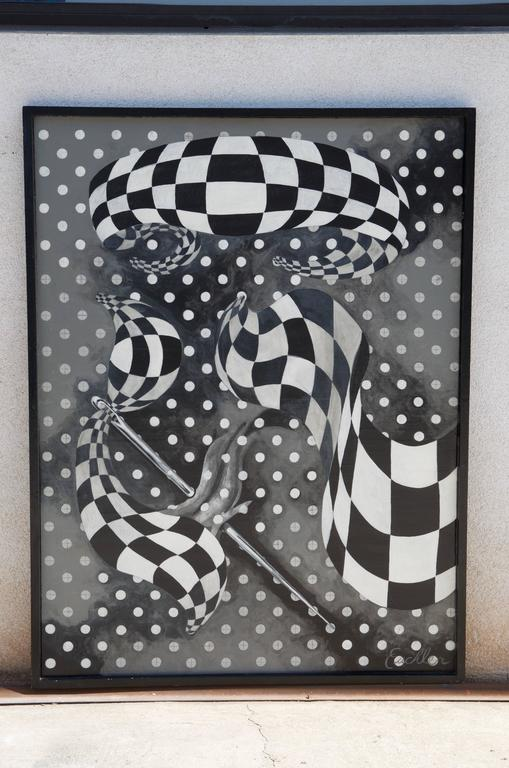 Large black and white abstract painting by Euchler. Oil on canvas. Signed and dated 2006.