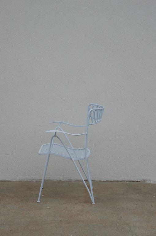 Powder-Coated Set of Six Outdoor Indoor Dining Chairs by Maurizio Tempestini for Salterini For Sale