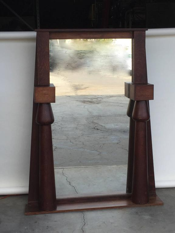 English Large Egyptian Revival Arts & Crafts Stained Oak Mirror For Sale