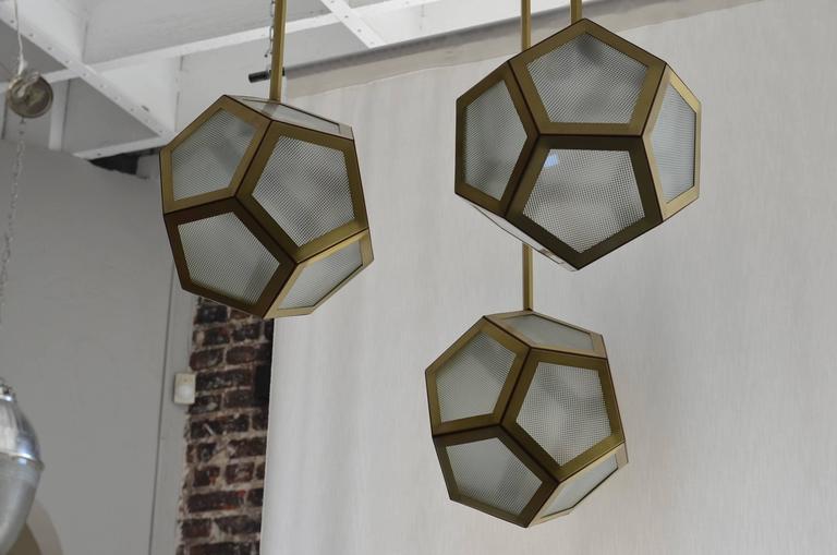 Polished Large Cluster Chandelier of Three Pentagone Lanterns by Design Frères For Sale