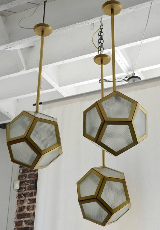 Vienna Secession Large Cluster Chandelier of Three Pentagone Lanterns by Design Frères For Sale