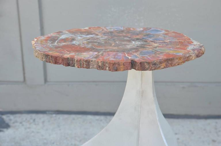 French 'Seve' Petrified Wood and Aluminium Side Table by Design Frères For Sale