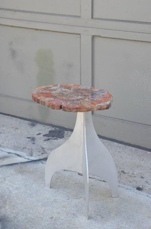 Organic Modern 'Seve' Petrified Wood and Aluminium Side Table by Design Frères For Sale