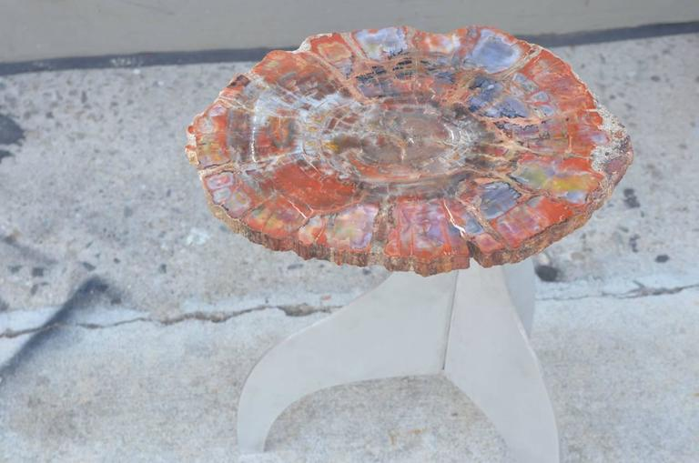 Polished 'Seve' Petrified Wood and Aluminium Side Table by Design Frères For Sale