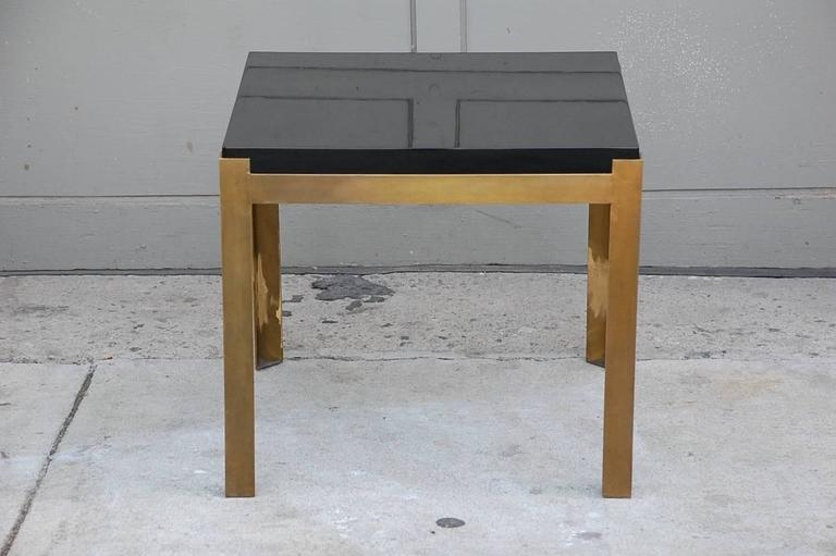 Pair of 'Caisson' lacquer and patinated brass side tables by Design Frères.