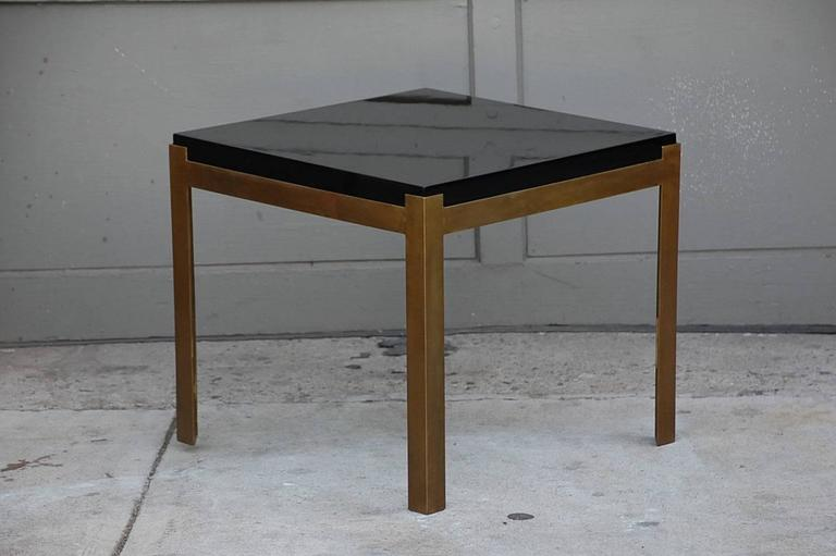 Pair of 'Caisson' Lacquer and Patinated Brass Side Tables by Design Frères 4