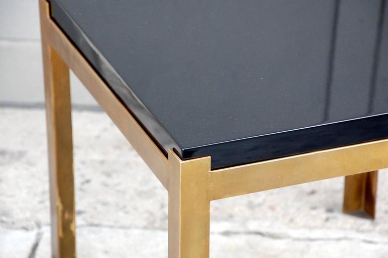 Lacquered Pair of 'Caisson' Lacquer and Patinated Brass Side Tables by Design Frères For Sale