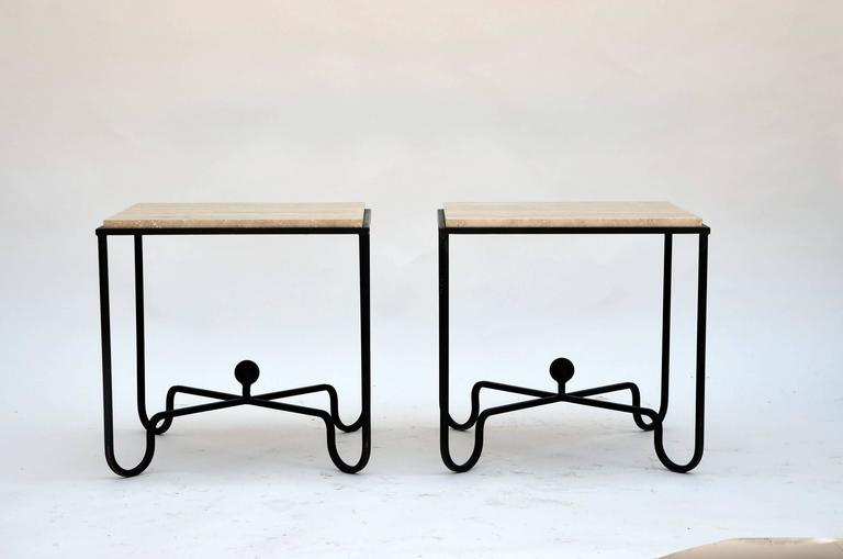 Modern Pair of Wrought Iron and Travertine 'Entretoise' Side Tables by Design Frères For Sale