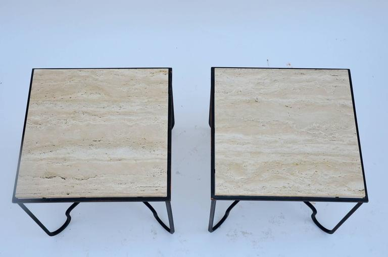 Contemporary Pair of Wrought Iron and Travertine 'Entretoise' Side Tables by Design Frères For Sale