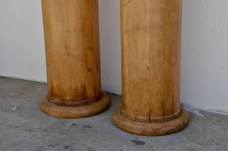 Pair of Elegant Tall Fluted Decorative Pine Columns 4