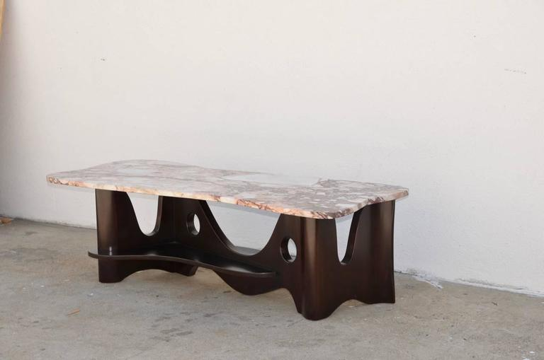 Sculptural Free-Form Marble Long Coffee Table 4