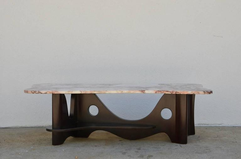 Sculptural Free-Form Marble Long Coffee Table 3