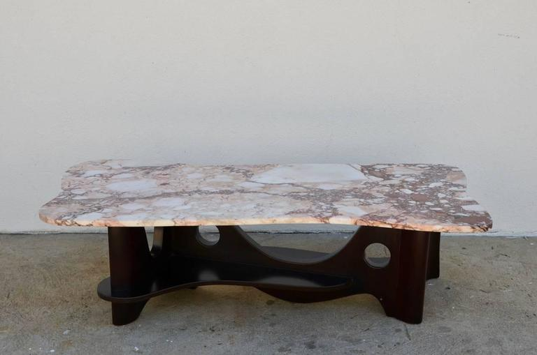 Sculptural Free-Form Marble Long Coffee Table 5