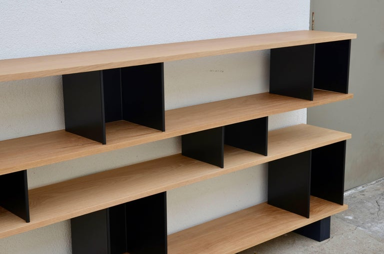 Low 'Horizontal' Matte Black and Polished Oak Shelving Unit by Design Frères 6
