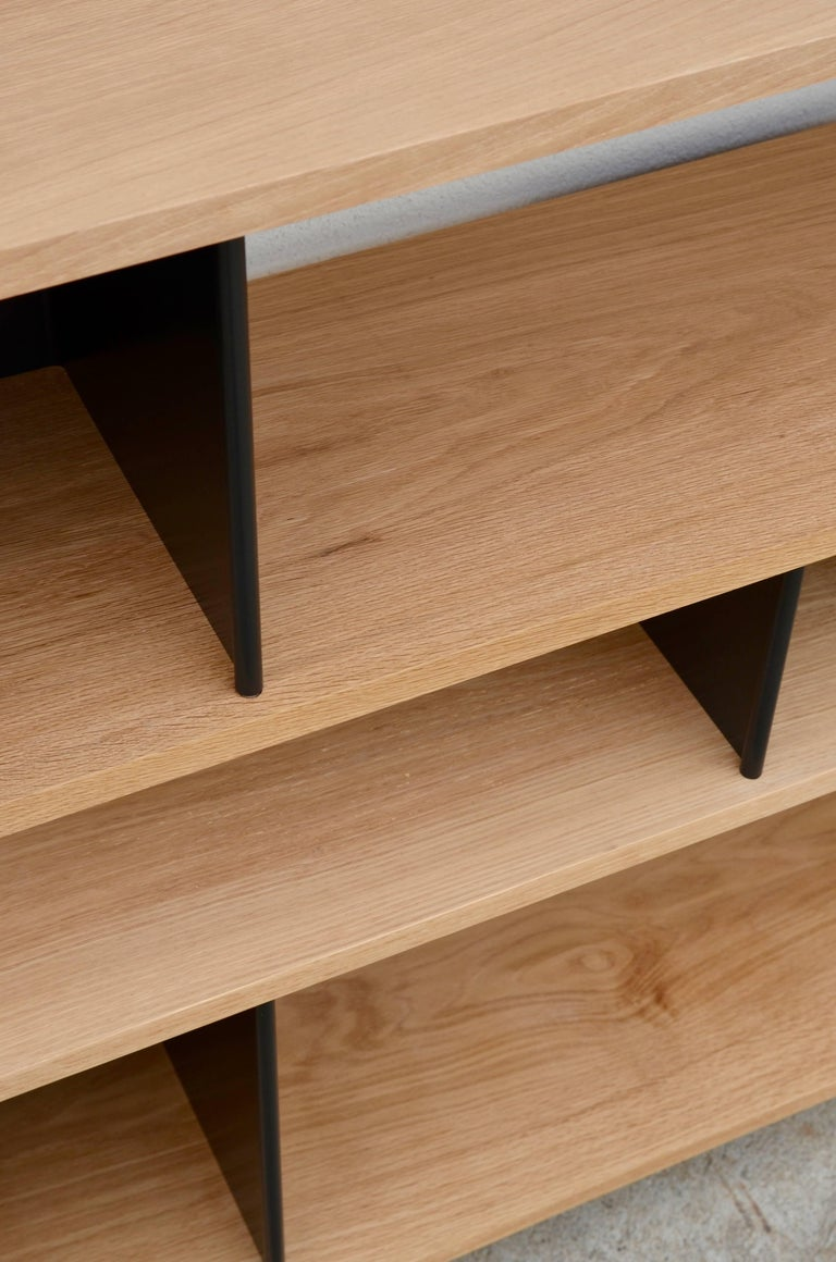 Low 'Horizontal' Matte Black and Polished Oak Shelving Unit by Design Frères 7