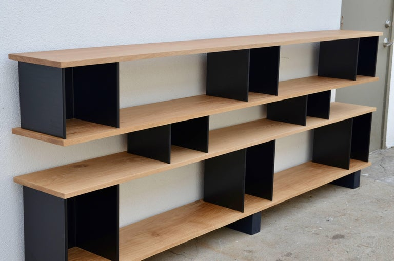Low 'Horizontal' Matte Black and Polished Oak Shelving Unit by Design Frères 4