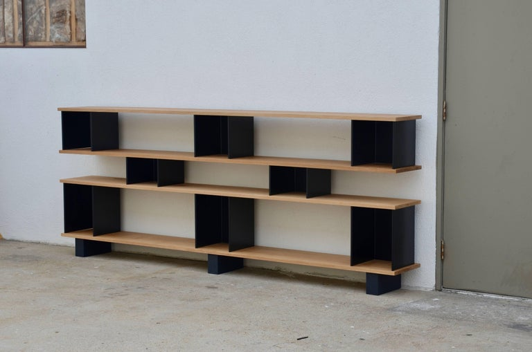 Mid-Century Modern Low 'Horizontal' Matte Black and Polished Oak Shelving Unit by Design Frères For Sale
