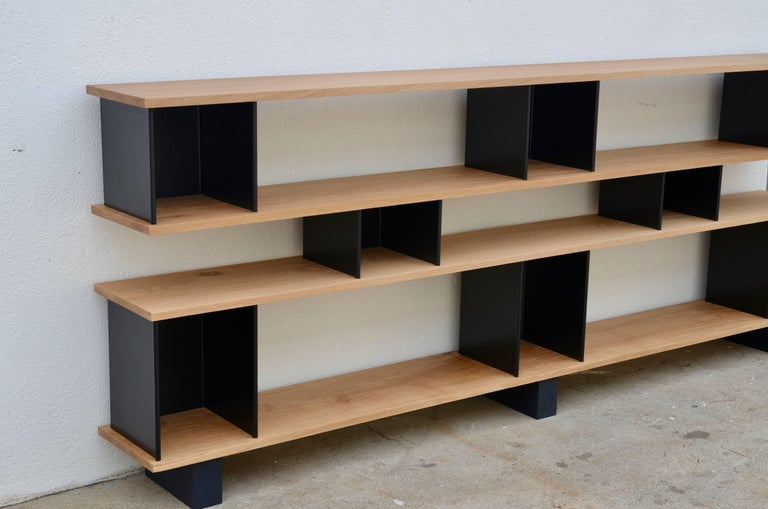 Low 'Horizontal' Matte Black and Polished Oak Shelving Unit by Design Frères 5