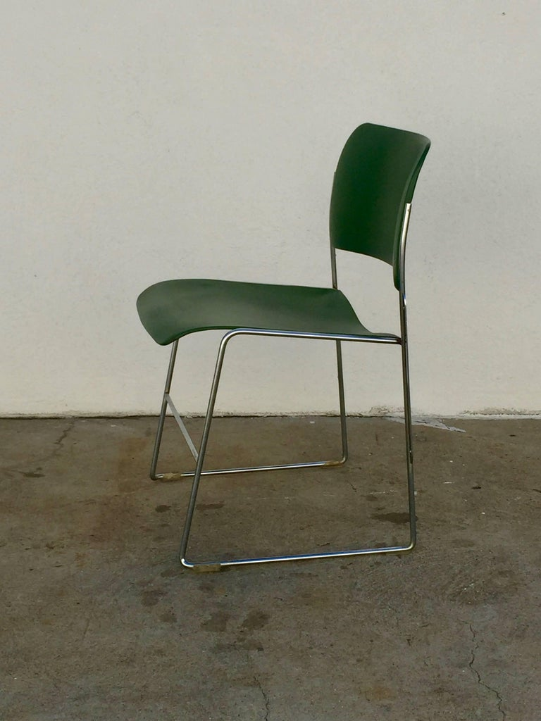 Set of 40/4 Green Chairs by David Rowland 4