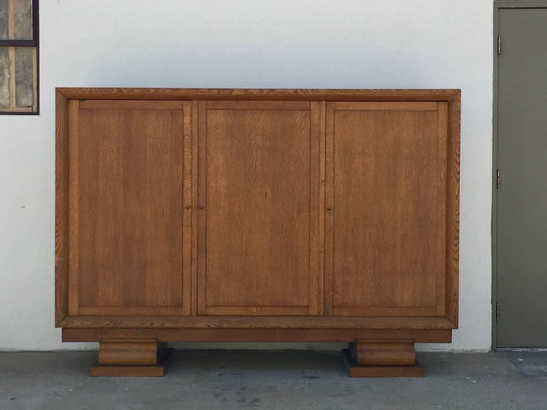 Incredible Polished Oak Low Armoire by Jacques Adnet 3