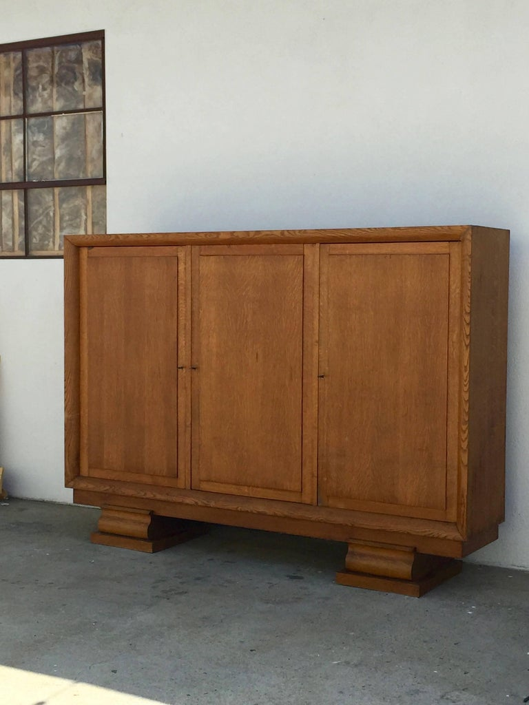 Incredible Polished Oak Low Armoire by Jacques Adnet 4