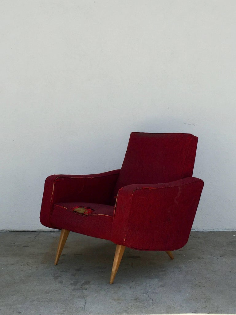 Pair Of Comfortable Italian 1950s Club Chairs For Sale At