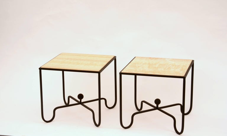Modern Pair of 'Entretoise' Wrought Iron and Onyx Side Tables by Design Frères For Sale