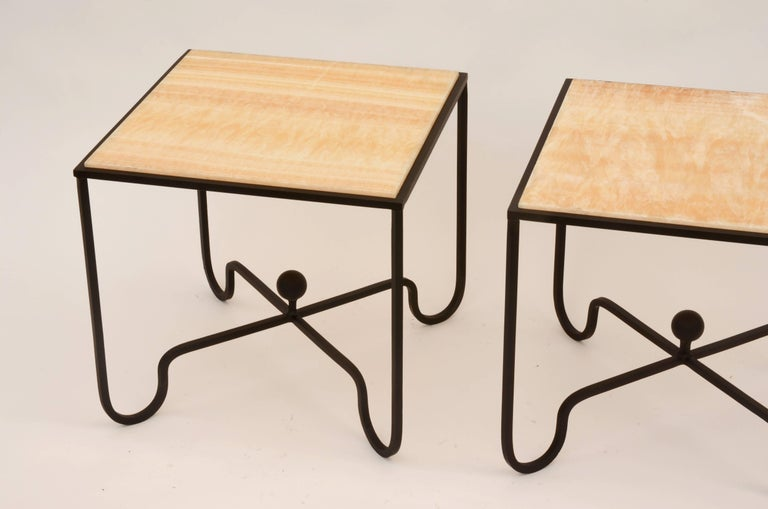 French Pair of 'Entretoise' Wrought Iron and Onyx Side Tables by Design Frères For Sale