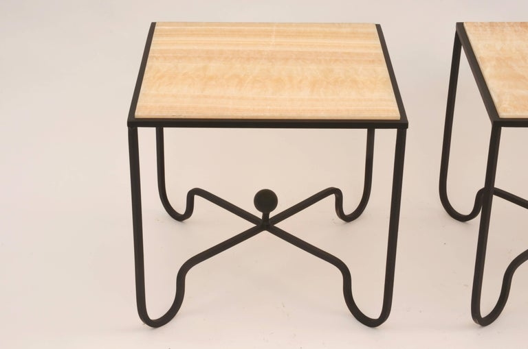 Polished Pair of 'Entretoise' Wrought Iron and Onyx Side Tables by Design Frères For Sale