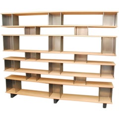 Large 'Horizontale' Oak and Polished Steel Shelving Unit by Design Frères
