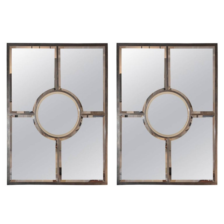 Pair of Solid Brass Beveled 'Quadrature' Mirrors by Design Frères For Sale